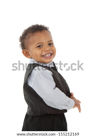 Adorable African American Boy Wearing Formal Wear Standing Portrait Isolated on White - stock photo