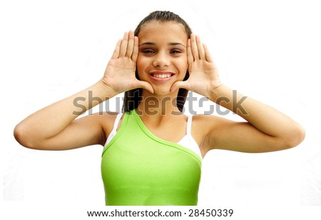 Adorable african american teenage girl framing her face with palms - isolated on white background.