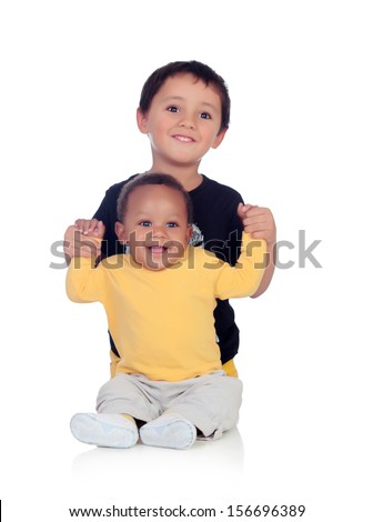 Adorable african baby with his brother isolated on a white background - stock photo