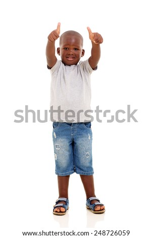 adorable african boy showing two thumbs up on white background - stock photo