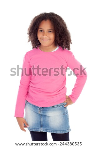 Adorable African girl isolated on a white background - stock photo