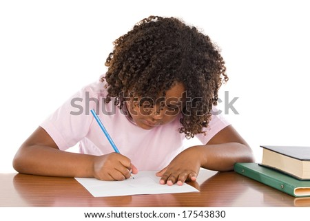 Adorable african girl writing a over white background