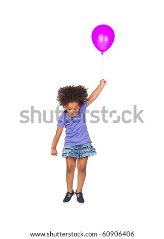 Adorable african little girl flying with a purple balloon isolated over white - stock photo