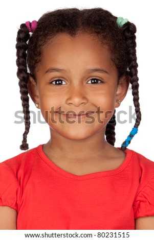 Adorable african little girl isolated on a over white