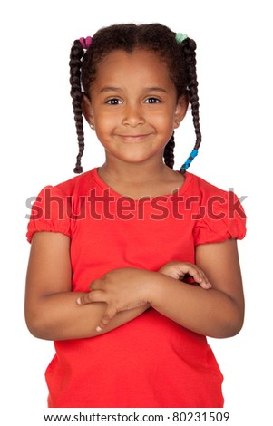 Adorable african little girl isolated on a over white background