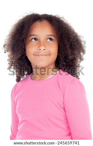 Adorable african little girl isolated on a white background