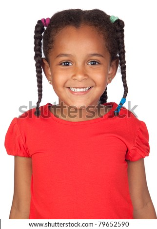 Adorable african little girl isolated over white - stock photo