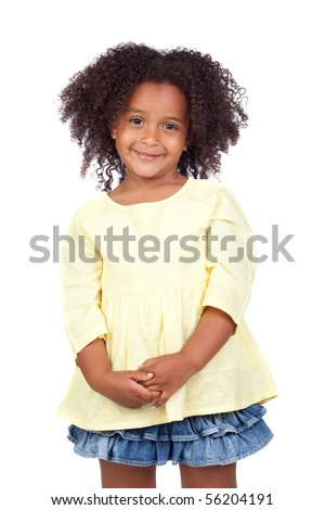 Adorable african little girl with beautiful hairstyle isolated over white - stock photo