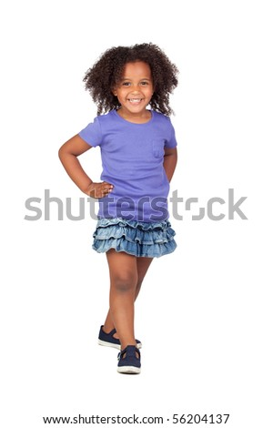 Adorable african little girl with denim miniskirt isolated over white - stock photo