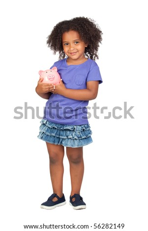 Adorable african little girl with piggy-bank isolated over white - stock photo