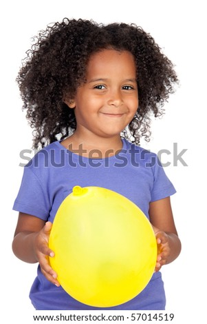 Adorable african little girl with yellow balloon isolated over white - stock photo