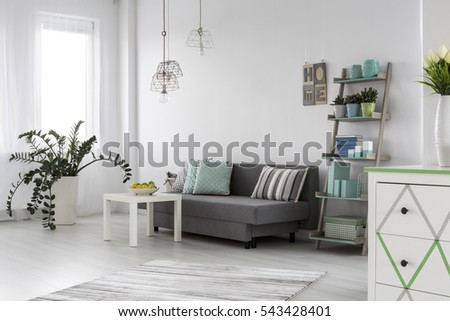 living room drawers. Adorable and spacious modern living room with grey sofa white chest of  drawers Chest Of Drawers Stock Images Royalty Free Vectors
