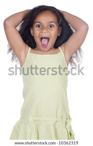 Adorable angry girl a over white background - stock photo