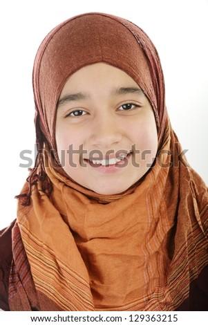 Adorable Arabic Muslim girl - stock photo
