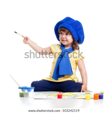 adorable artist kid girl drawing and painting - stock photo