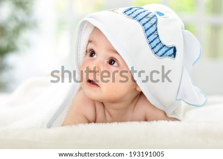 Adorable baby After shower time - stock photo