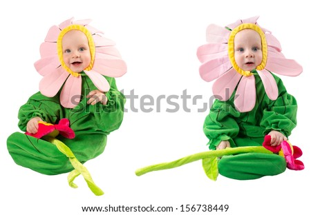 Adorable baby boy, dressed in flower costume on white background. The concept of childhood and holiday - stock photo