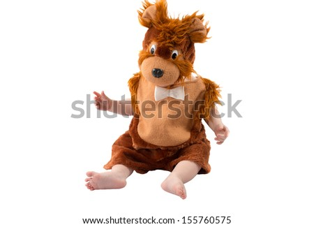 Adorable baby boy,dressed in furry teddy bear carnival suit, isolated on white background. The concept of childhood and holiday - stock photo