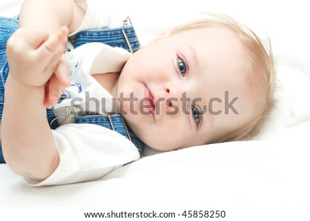 adorable baby boy having fun - stock photo