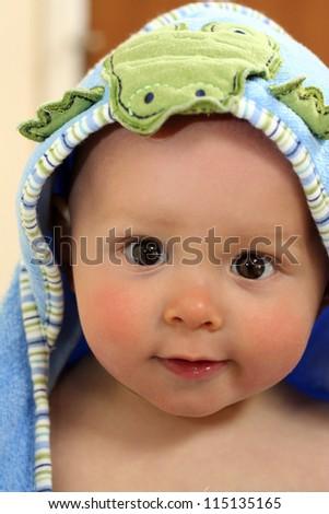 Adorable Baby Boy in Bath Towel - stock photo