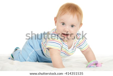 Adorable baby boy on blanket - stock photo