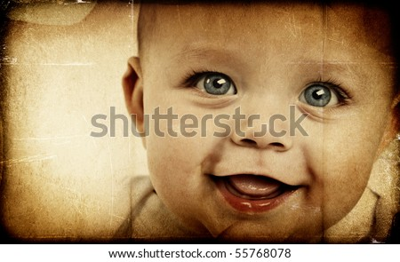 Adorable baby boy on textured background - stock photo