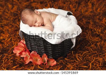 Adorable baby boy sleeping in a basket - stock photo