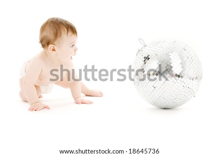 adorable baby boy with big disco ball over white - stock photo