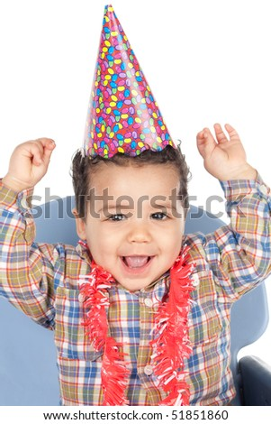 Adorable baby celebrating the birthday isolated on a over white background