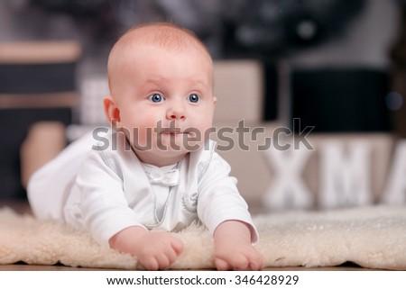 Adorable baby closeup - stock photo