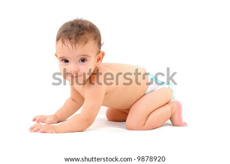 Adorable Baby crawling on white background .
