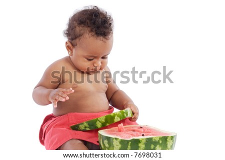 adorable baby eating watermelon a over white background