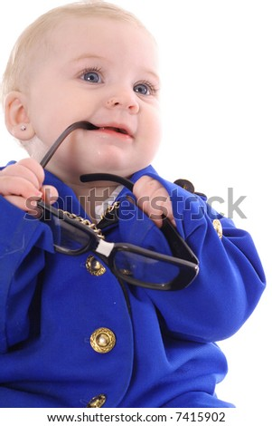 adorable baby executive - stock photo