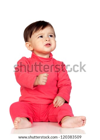 Adorable baby girl frowning isolated on white background - stock photo