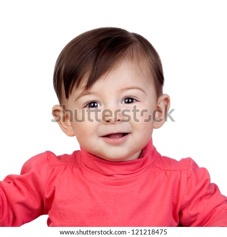 Adorable baby girl in a box isolated on white background - stock photo