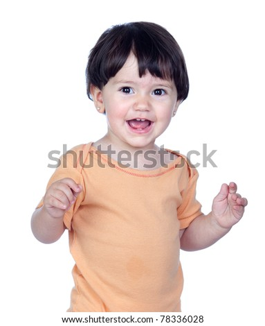 Adorable baby girl isolated on a over white background - stock photo