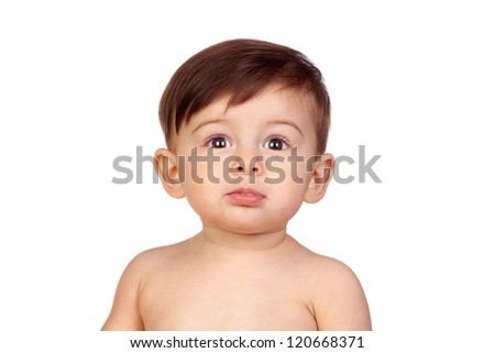 Adorable baby girl isolated on white background - stock photo