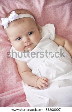 Adorable baby girl portrait - stock photo