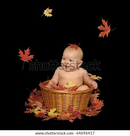 Adorable baby girl sitting in a basket with fall leaves, isolated on a black background. - stock photo