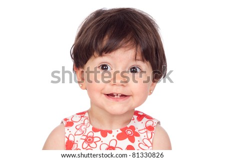 Adorable baby girl smiling isolated on a over white background - stock photo
