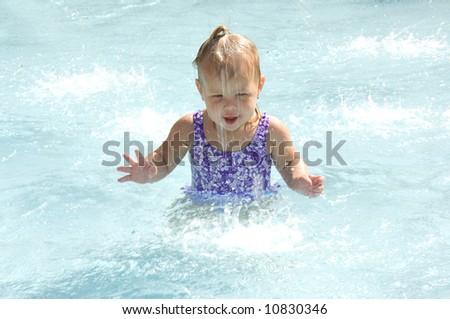 Adorable Baby Girl Splashing - stock photo