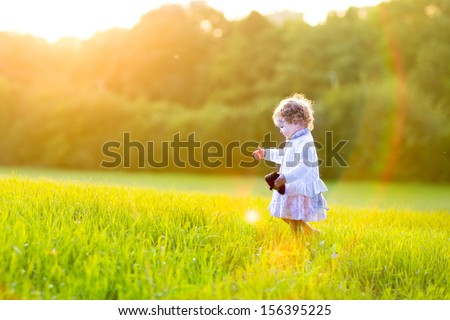 Adorable baby girl walking in an autumn field at sunset - stock photo
