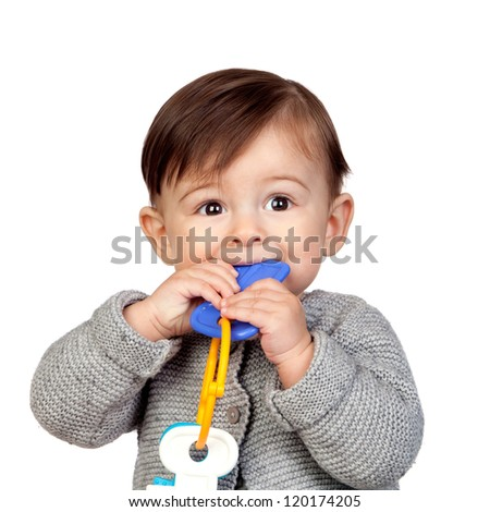 Adorable baby girl with a bite in her mouth isolated on white background - stock photo