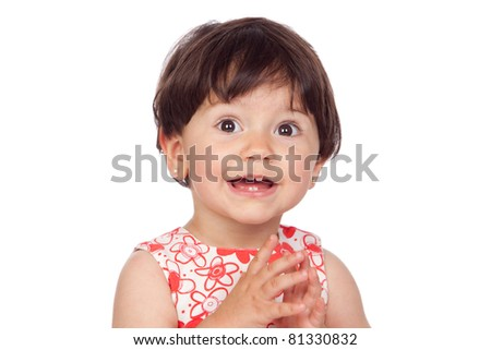 Adorable baby girl with floral dress isolated on a over white background - stock photo