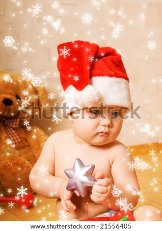 Adorable baby in Christmas hat