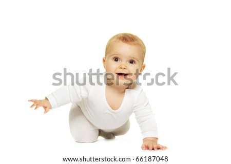 Adorable baby isolated on white - stock photo