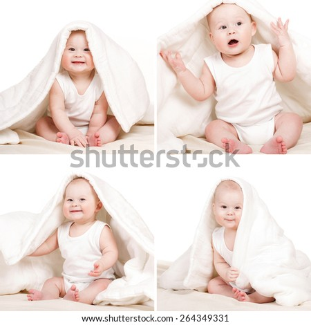 Adorable baby, looking out under a white blanket/towel. child under blanket. Little baby under white towel. collage. series - stock photo