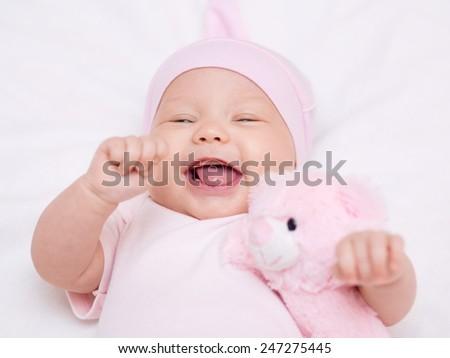 Adorable baby 3 months, close-up portrait - stock photo