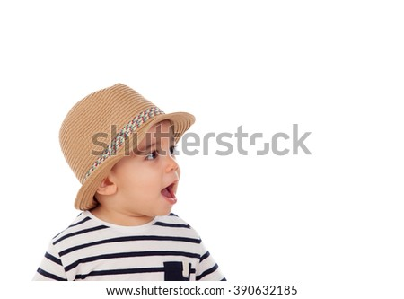 Adorable baby nine months with summer look isolated on a white background - stock photo