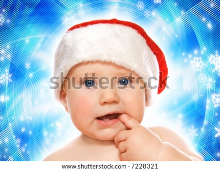 Adorable baby on abstract winter background - stock photo